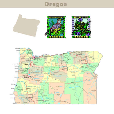 counties: USA states series: Oregon. Political map with counties, roads, states contour, bird and flower