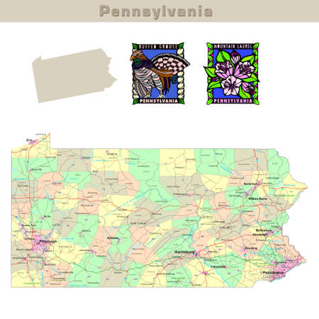 pennsylvania: USA states series: Pennsylvania. Political map with counties, roads, states contour, bird and flower