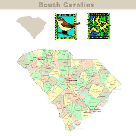 carolina: USA states series: South Carolina. Political map with counties, roads, states contour, bird and flower Stock Photo