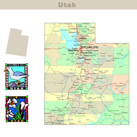 USA States Series: Utah. Political Map With Counties, Roads,.. Stock ...