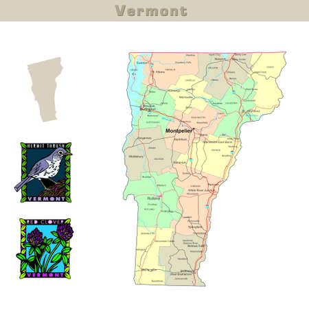 mapa politico: EE.UU. afirma serie: Vermont. Mapa pol�tico con los condados, las carreteras, del estado de contorno, aves y flores