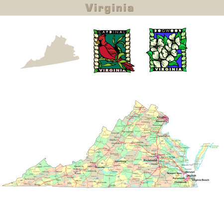virginia: USA states series: Virginia. Political map with counties, roads, states contour, bird and flower Stock Photo