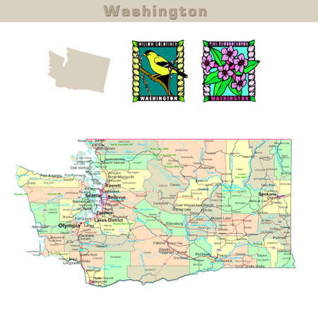 washington: USA states series: Washington. Political map with counties, roads, states contour, bird and flower