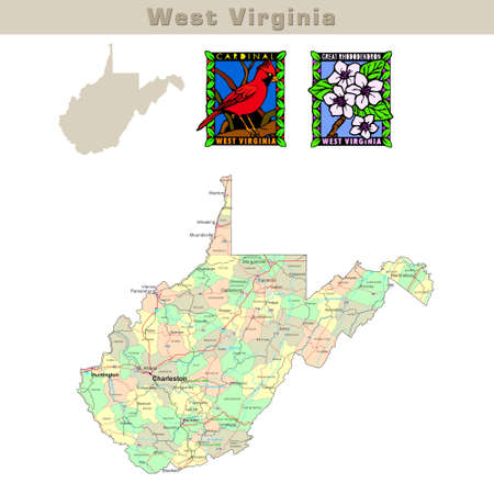 virginia: USA states series: West Virginia. Political map with counties, roads, states contour, bird and flower
