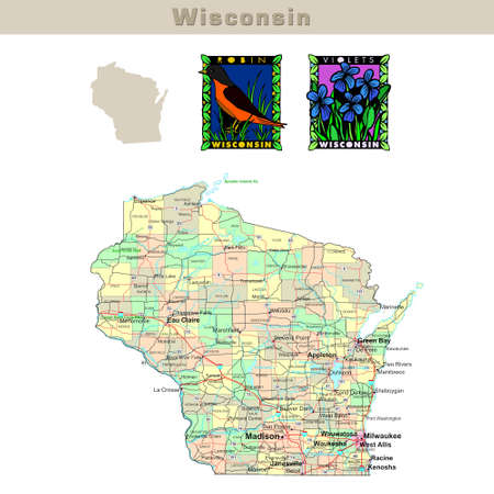 USA states series: Wisconsin. Political map with counties, roads, state's contour, bird and flower Stock Photo - 1565647