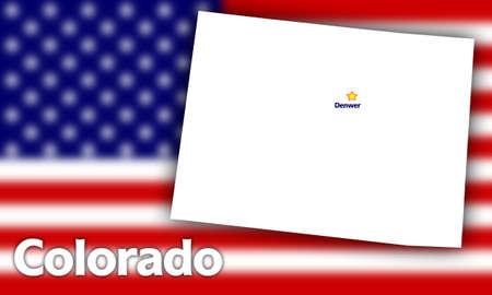 capital of colorado: Colorado state contour with Capital City against blurred USA flag