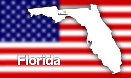 florida: Florida state contour with Capital City against blurred USA flag Stock Photo