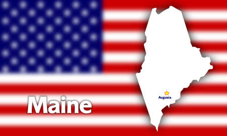 Maine state contour with Capital City against blurred USA flag photo