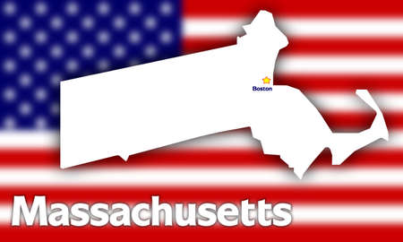 territorial: Massachusetts state contour with Capital City against blurred USA flag