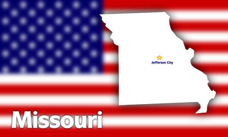 jefferson: Missouri state contour with Capital City against blurred USA flag
