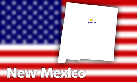 territorial: New Mexico state contour with Capital City against blurred USA flag