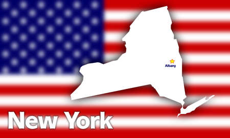 albany: New York state contour with Capital City against blurred USA flag