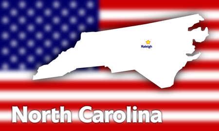 North Carolina state contour with Capital City against blurred USA flag photo