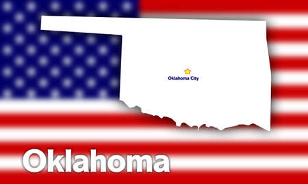 Oklahoma state contour with Capital City against blurred USA flag Stock Photo - 1583023