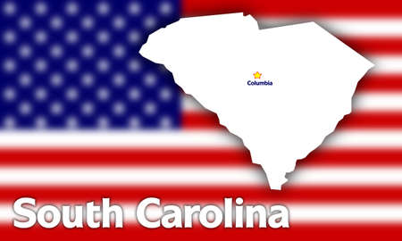 South Carolina state contour with Capital City against blurred USA flag photo