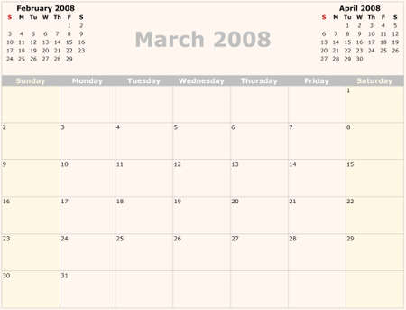 Sunday to Saturday monthly calendar, 2008 Year photo