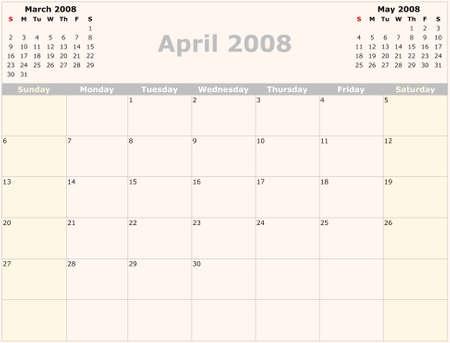 saturday: Sunday to Saturday monthly calendar, 2008 Year