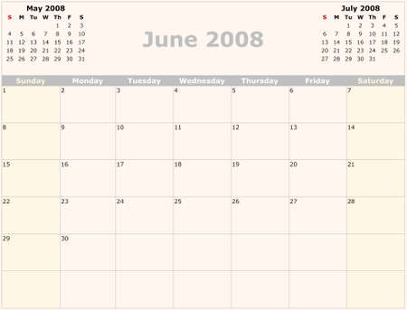monthly: Sunday to Saturday monthly calendar, 2008 Year