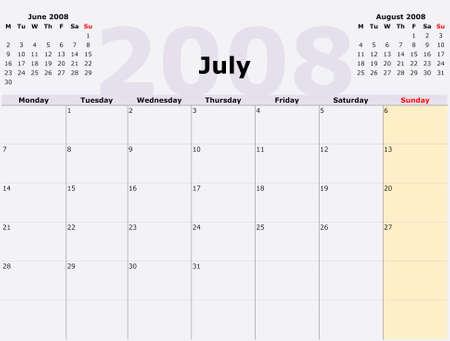 Monday to Sunday monthly calendar, 2008 Year photo