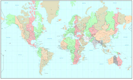 zones: Political World map with time zones