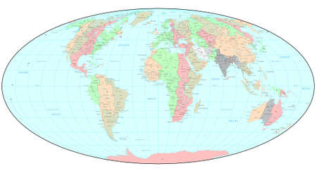 time zone: Political World map with time zones