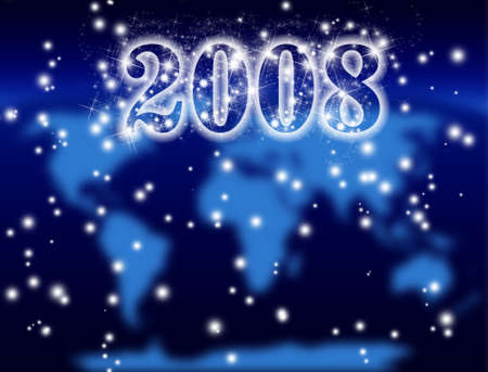 stardom: New Year 2008, cosmic background and blurred world map