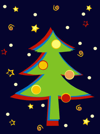 Christmas tree in retro colors scheme Stock Photo - 1630349