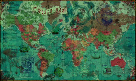 Modern world political map made in retro style photo
