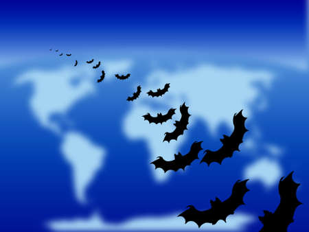 Halloween theme: bats flying over the world photo