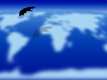 Halloween theme: bat flying over the world Stock Photo - 1637053