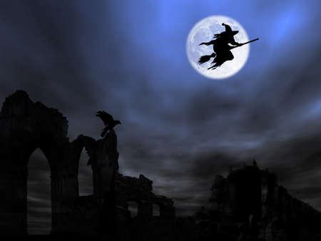 strega che vola: Halloween tema: Witch sorvolano il vecchio rovina contro la Luna  Archivio Fotografico