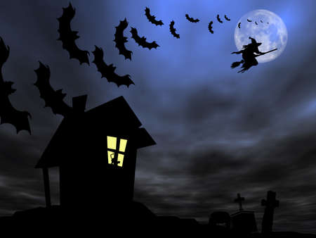 satanic: Halloween theme: Witch and bats are flying