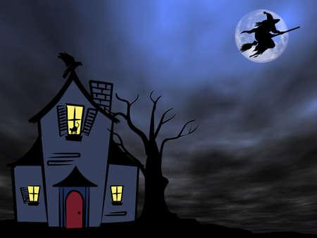 Halloween tema: Bruja volando sobre la vieja casa contra la Luna  Foto de archivo - 1647655
