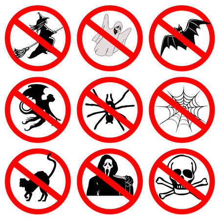 satanic: Halloween signs collection Stock Photo