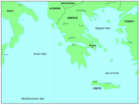 Sea maps series: Aegean Sea, Ionian Sea, Crete Sea photo