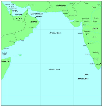 indian ocean: Sea maps series: Arabian Sea, Indian Ocean