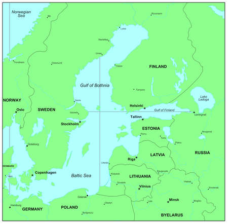 education in sweden: Sea maps series: Baltic Sea, Norwegian Sea Stock Photo