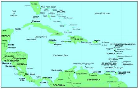 Sea maps series: Caribbean Sea photo
