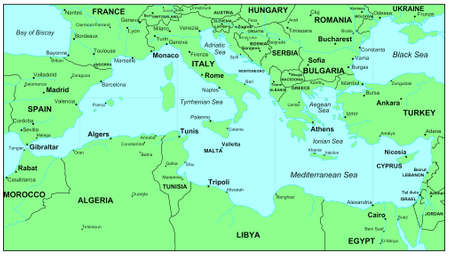Sea maps series: Mediterranean Sea