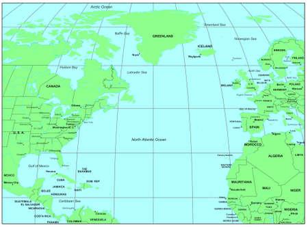Sea maps series: North Atlantic Ocean photo