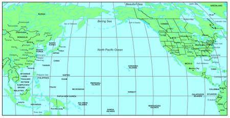 Sea maps series: North Pacific Ocean photo