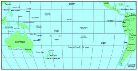 Sea maps series: South Pacific Ocean photo