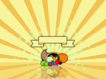 Thanksgiving background with cornucopia and banner Stock Photo - 1726643