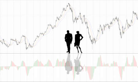 exchange loss: Chart background with people silhouettes Stock Photo