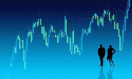 forex trading: Chart background with people silhouettes Stock Photo