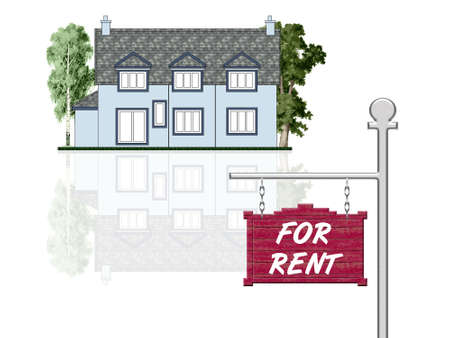 House for rent, isolated illustration Stock Illustration - 1887470