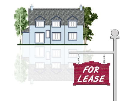 ad: House for lease, isolated illustration Stock Photo