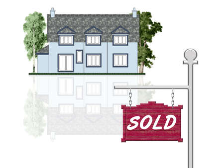 Sold house announcement, isolated illustration Stock Illustration - 1887468