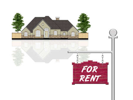 ad: House for rent, isolated illustration
