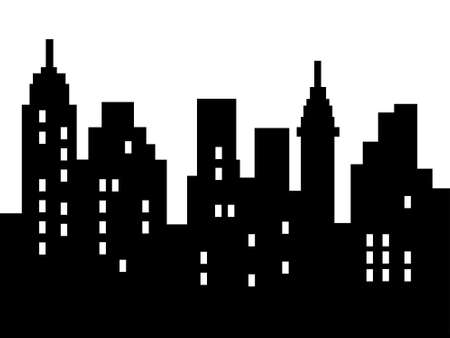 Abstract city silhouette, black on white, isolated Stock Photo